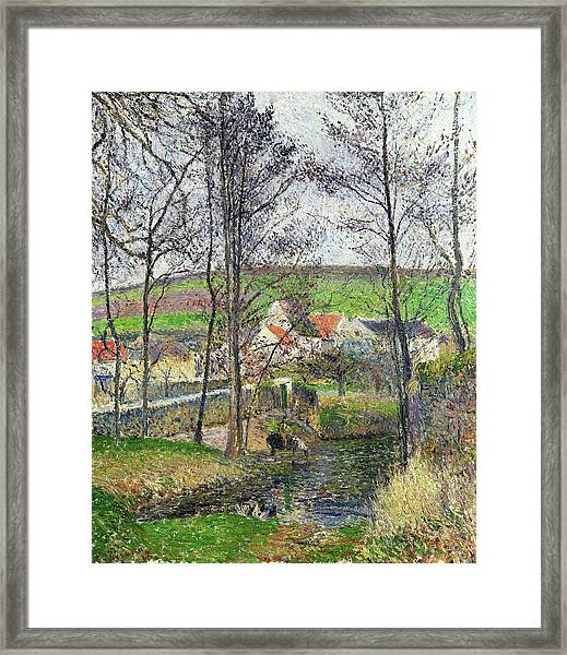 The Banks Of The Viosne At Osny In Grey Weather, Winter - Digital Remastered Edition Framed Print
