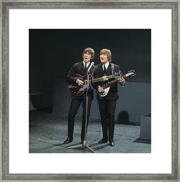 The Beatles Perform On Shindig Framed Print by David Redfern