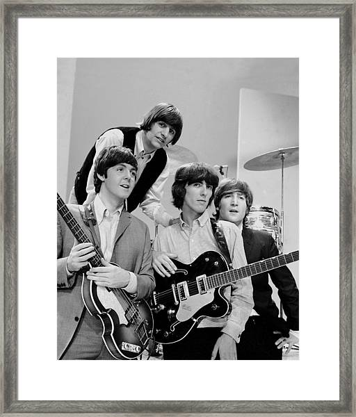 The Beatles, Ringo Starr Rear And L. To Framed Print