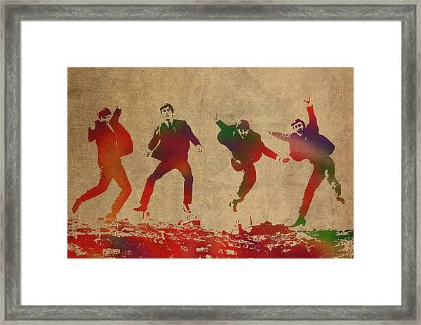 The Beatles Watercolor Portrait Framed Print