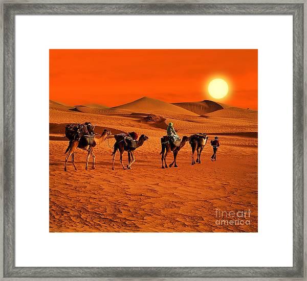 The Berbesky Tribe Passes The Desert In Framed Print