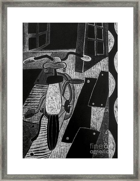 The Bicycle. Framed Print