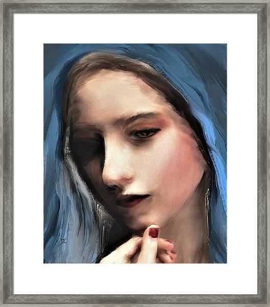 The Blue Scarf Framed Print