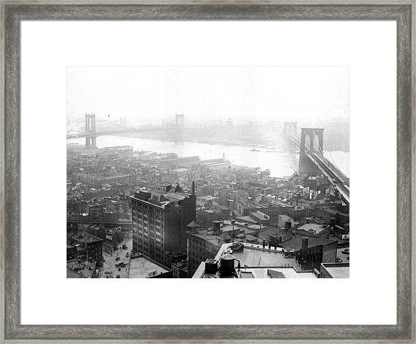 The Brooklyn Bridge Right Spanning The Framed Print