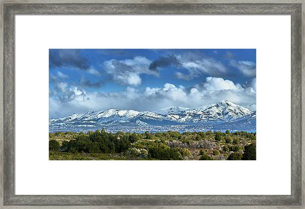 The City Of Bariloche And Landscape Of Snowy Mountains In The Argentine Patagonia Framed Print