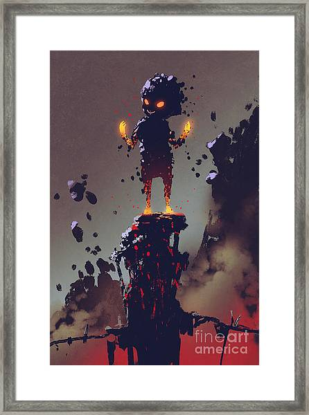 The Cute Monster Creature Made From Framed Print by Tithi Luadthong