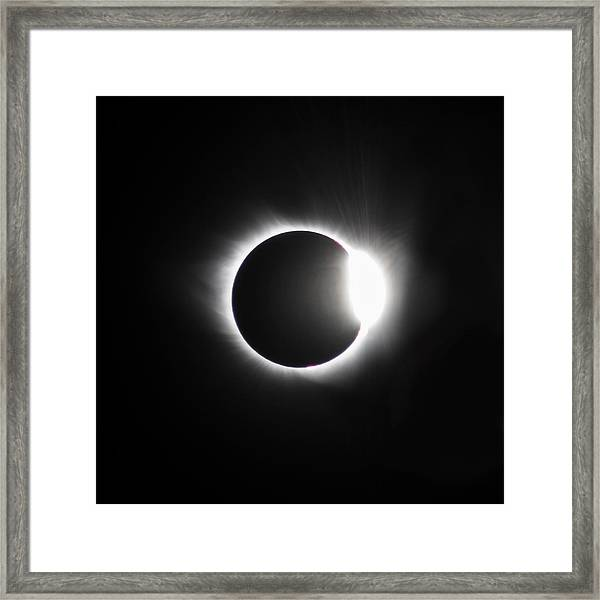 The Diamond Before Totality  Framed Print by Christine Buckley