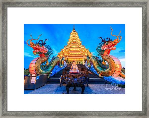 The Dragon In Temple Wat Hyua Pla Kang Framed Print by Apiguide