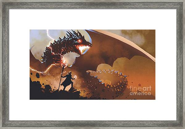 Framed Print featuring the painting The Dragon Wizard by Tithi Luadthong