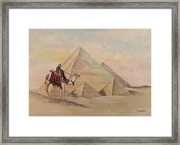 Framed Print featuring the painting The Egyptian Pyramids by Said Marie