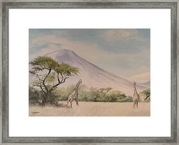 Framed Print featuring the painting The Giraffe by Said Marie