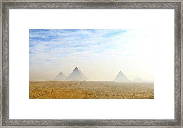 The Giza Pyramids Viewed From Distance Framed Print