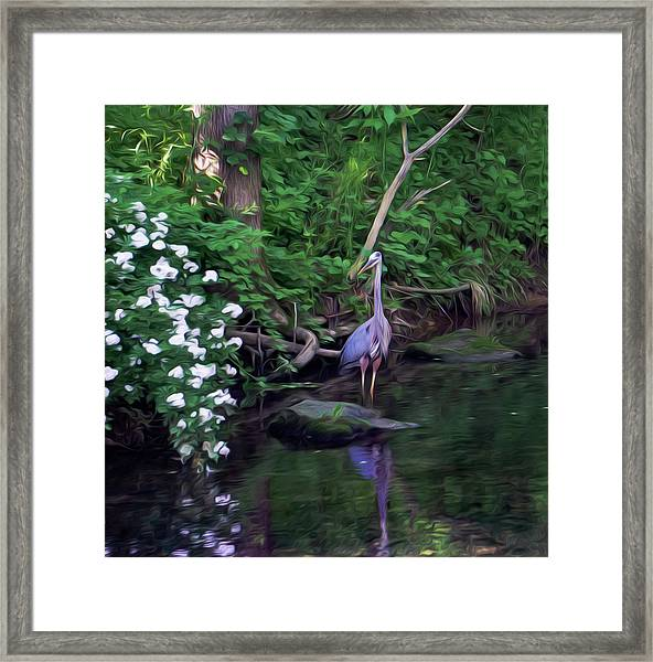 The Great Blue Heron - Impressionism Framed Print