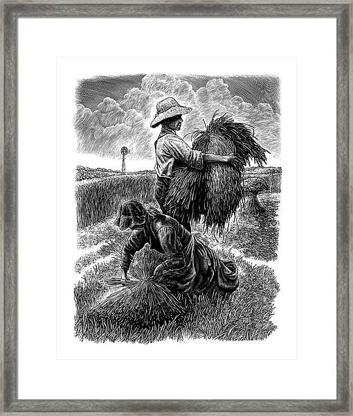 Framed Print featuring the drawing The Harvesters - Bw by Clint Hansen
