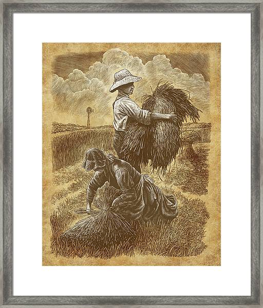 Framed Print featuring the drawing The Harvesters by Clint Hansen