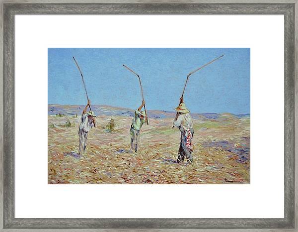 The Haymakers - Pierre Van Dijk 70x90cm Oil Framed Print