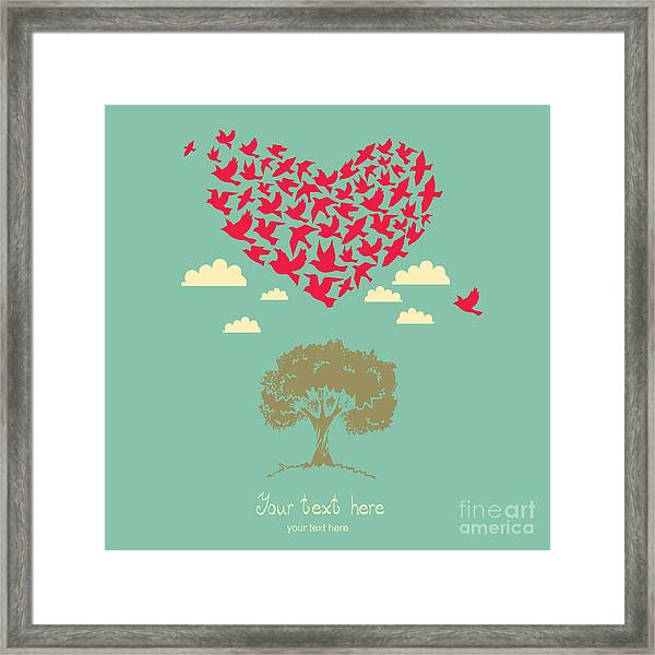 The Heart Of The Birds. Love Colorful Framed Print