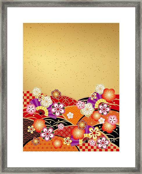 The Japanese Style Background Of The Framed Print