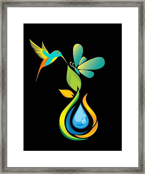 The Kissing Flower And The Butterfly On Flower Bud Framed Print