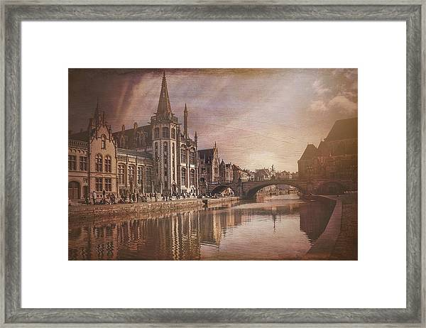 The Medieval Old Town Of Ghent  Framed Print