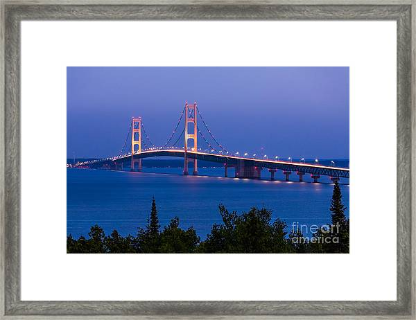 The Mighty Mackinac Bridge, Connecting Framed Print