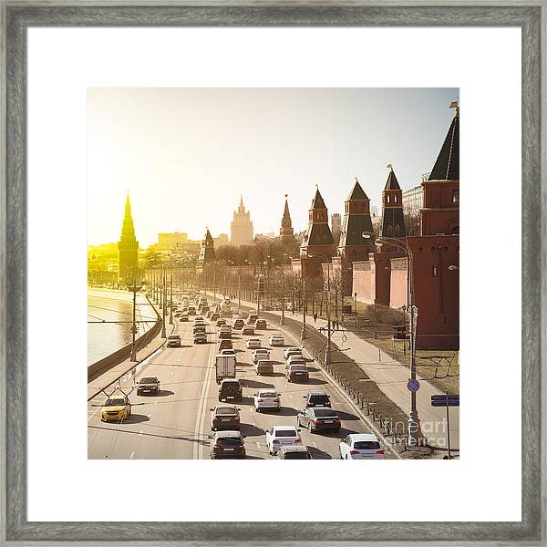 The Moscow Kremlin And Road Traffic Framed Print