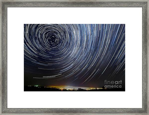 The Motion Of Stars Around Pole Star In Framed Print