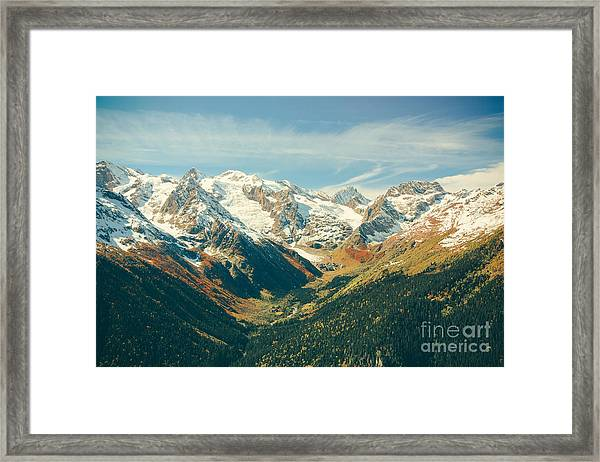 The Mountain Autumn Landscape With Framed Print