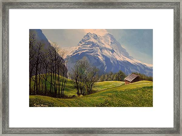 Framed Print featuring the painting The Mountain by Said Marie
