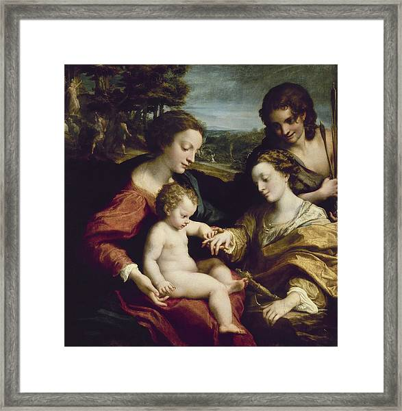 The Mystic Marriage Of St. Catherine Of Alexandria - 1525/26 - 105x102 Cm - Italian Renaissance. Framed Print