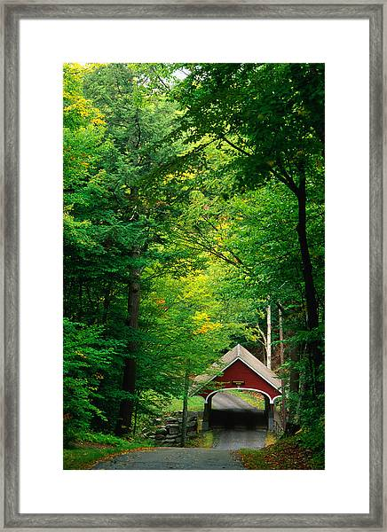 The New Hampshire Covered Bridge 39 Framed Print by Mark Newman