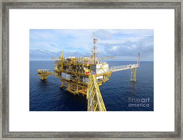 The Offshore Oil Rig In The Gulf Of Framed Print