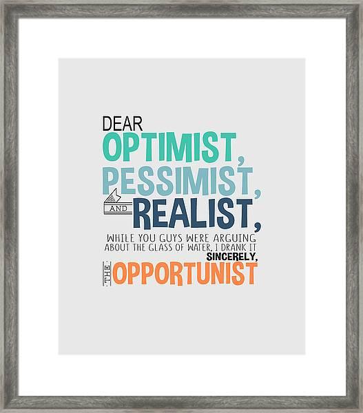 The Opportunist Framed Print