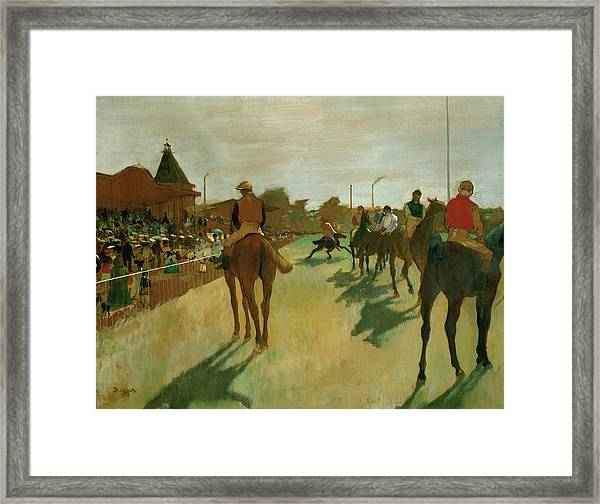The Parade, Race Horses In Front Of The Tribunes, 1868 Framed Print