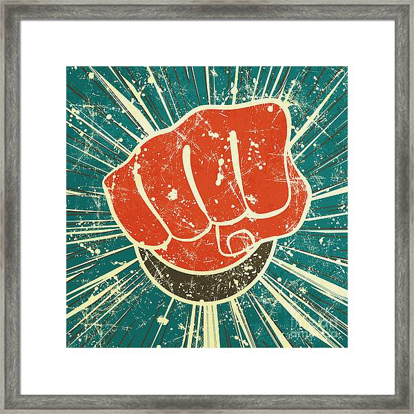 The Punch Fist Of Red Color On A Framed Print by Verbena