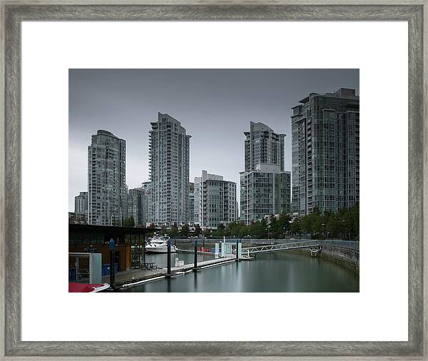 Framed Print featuring the photograph The Quayside Marina - Yaletown Apartments Vancouver by Juan Contreras