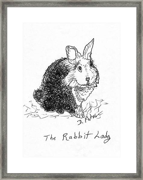The Rabbit Lady Drawing Framed Print