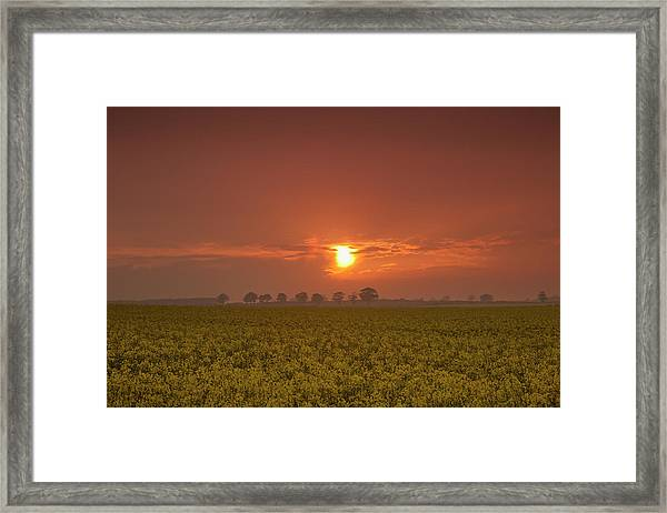 The Red Glow Of A Sunset Over A Field Framed Print