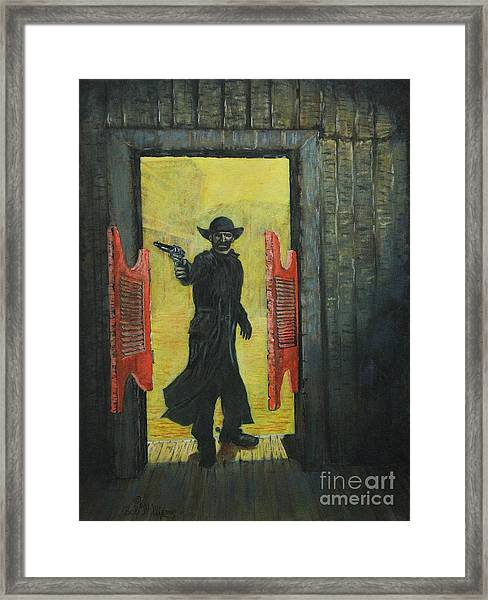 The Red Saloon Doors.....what Next Framed Print