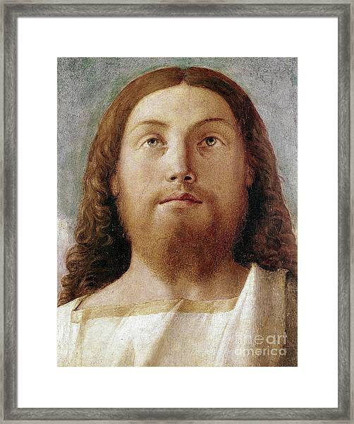 The Redeemer Detail Of A Painting By Giovanni Bellini  Framed Print