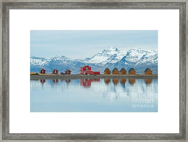 The Reflection Of The Small Cottage In Framed Print