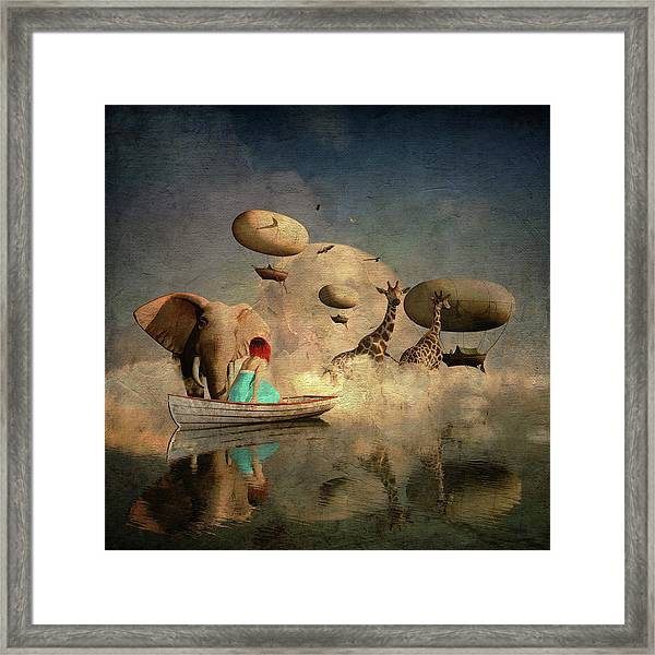 Framed Print featuring the digital art The Run Of The Animals To The Ark by Jan Keteleer