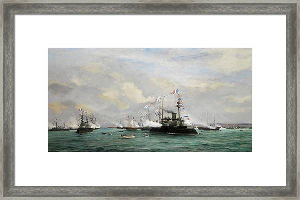 The Russian Squadron In The Port Of Cherbourg Framed Print