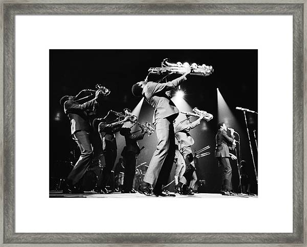 The Sam & Dave Horn Section On Stage Framed Print