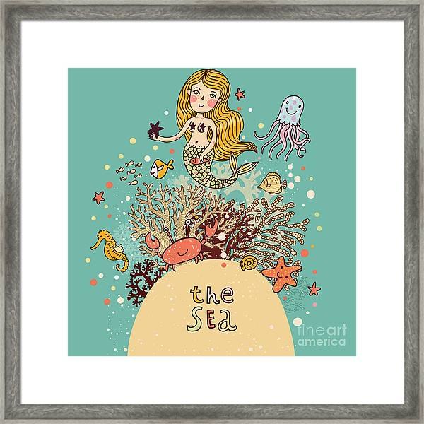 The Sea â Bright Cartoon Card Framed Print