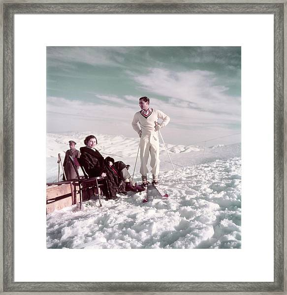 The Shah & Wife Skiing Framed Print
