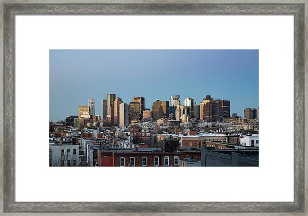 The Skyline Of Boston In Massachusetts, Usa On A Clear Winter Ev Framed Print