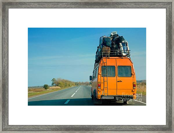 The Small Bus With Bags On A Roof Framed Print