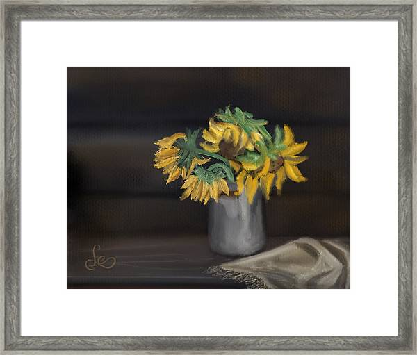 Framed Print featuring the painting The Sun Flowers  by Fe Jones