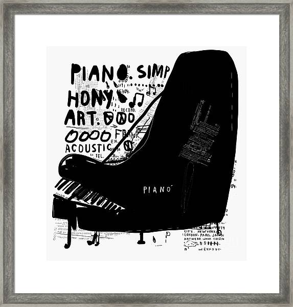 The Symbolic Image Of A Piano On White Framed Print